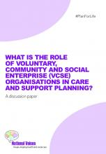 What is the role of VCSE organisations in care and support planning?